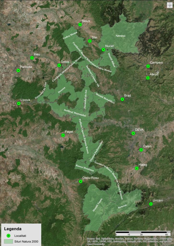 LIFE Connect Carpathians Project area: Apuseni – Southern Carpathians Corridor